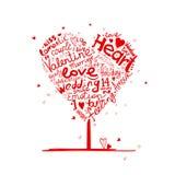 Forma do coração da árvore do Valentim para seu projeto ilustração stock