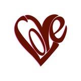 Forma do coração da palavra do AMOR ilustração stock