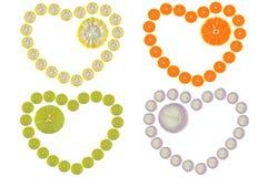 Forma do coração das frutas e legumes Fotografia de Stock