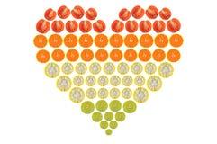Forma do coração das frutas e legumes Fotografia de Stock Royalty Free