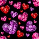 Forma do coração das pedras preciosas em um fundo preto Teste padrão sem emenda do vetor ilustração royalty free