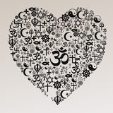 Forma do coração das religiões - Hinduísmo Fotos de Stock