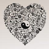 Forma do coração das religiões - taoismo Imagem de Stock Royalty Free