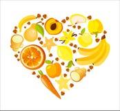 Forma do coração de frutas e legumes vermelhas Ilustração orgânica do vetor da nutrição saudável ilustração royalty free