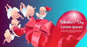 Forma do coração do cupido do amor do caso amoroso de Valentine Day Gift Card Holiday ilustração royalty free
