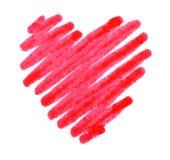 Forma do coração do curso do desenho da cor vermelha Imagem de Stock