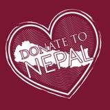 A forma do coração doa ao backg vermelho do estilo do selo da bandeira de nepal sobre profundamente - ilustração royalty free