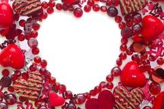 Forma do coração feita com confetti e cristais Foto de Stock