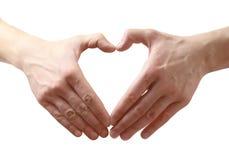Forma do coração feita de duas mãos. Imagens de Stock Royalty Free