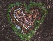 Forma do coração feita fora da casca do pinho, dos cones do pinho, das rochas e da folha fraca imagens de stock royalty free