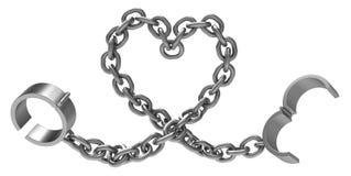 Forma do coração do metal dos grilhões Fotografia de Stock