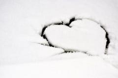 Forma do coração na neve Imagens de Stock Royalty Free