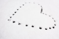 Forma do coração na neve Fotografia de Stock Royalty Free