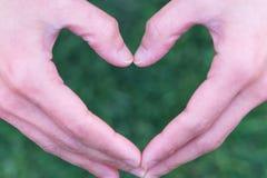 Forma do coração no formulário da mão de grama na forma nos fundos da grama, conceito do coração do Dia da Terra do mundo Fotografia de Stock