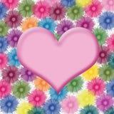 Forma do coração no fundo da flor Fotografia de Stock Royalty Free