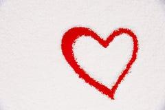 Forma do coração pintada na janela congelada Imagens de Stock