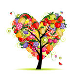 Forma do coração da árvore de fruta da energia para seu projeto Imagens de Stock Royalty Free