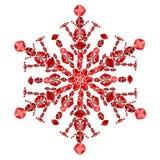 Forma do floco de neve das gemas vermelhas do rubi isoladas no branco Fotografia de Stock