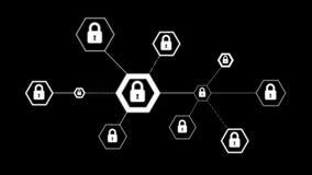 forma do hexágono da animação 4K com ícone do fechamento para o conceito da tecnologia do cyber do cadeado da segurança da rede n ilustração royalty free