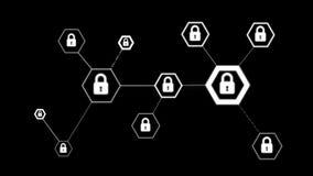 forma do hexágono da animação 4K com ícone do fechamento para o conceito da tecnologia do cyber do cadeado da segurança da rede n ilustração stock