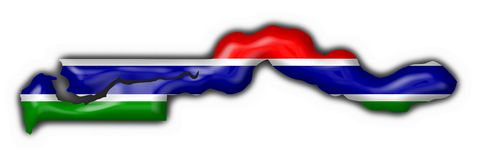 Forma do mapa da bandeira da tecla de Gambia Fotos de Stock Royalty Free