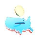 Forma do país dos EUA como um moneybox com uma moeda dourada Fotos de Stock Royalty Free