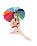 forma do swimwear da praia da mulher Fotos de Stock Royalty Free