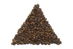 Forma do triângulo dos feijões de café fotografia de stock royalty free