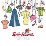 Forma do verão Desgaste colorido das férias da mulher que pendura na corda ilustração royalty free