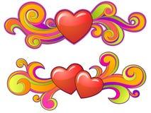 Forma dos corações com redemoinhos Imagem de Stock