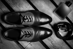 Forma dos homens Acessórios dos homens, ainda vida Olhar do negócio Fotografia de Stock