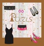 Forma e acessórios para meninas Paris ilustração royalty free