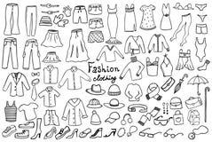 Forma e coleção do vetor da roupa ilustração do vetor
