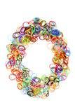 Forma elástico colorida número cero de las gomas Fotografía de archivo