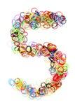 Forma elástico colorida número cinco de las gomas Foto de archivo libre de regalías