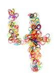 Forma elástico colorida número cuatro de las gomas Fotografía de archivo