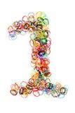 Forma elástico colorida número uno de las gomas Imágenes de archivo libres de regalías