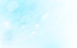 Forma esagonale di prospettiva astratta su fondo blu e bianco Fotografia Stock