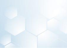 Forma esagonale di ripetizione astratta su fondo blu e bianco Fotografie Stock Libere da Diritti