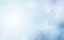 Forma esagonale di ripetizione astratta su fondo blu e bianco Fotografie Stock