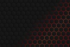 Forma esagonale, modello grigio nero con il fondo di luce rossa come fondo astratto illustrazione di stock