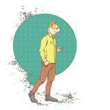 A forma esperta do desgaste do telefone da pilha do uso do moderno do cão dos desenhos animados veste o sumário retro Fotografia de Stock