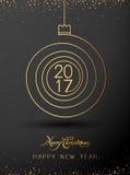 Forma espiral del oro 2017 de la Feliz Año Nuevo de la Feliz Navidad Ideal para la tarjeta de Navidad Imagen de archivo libre de regalías