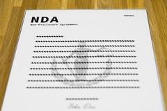 Forma falsa de NDA imagen de archivo libre de regalías
