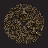Forma feliz del círculo del oro y de Valentine Day Line Icons Set del negro Imagen de archivo libre de regalías