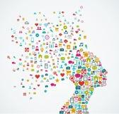 Forma femenina de la cabeza humana con los medios iconos sociales de Imagen de archivo libre de regalías