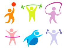 Forma fisica, accumulazione di sport delle icone Immagini Stock