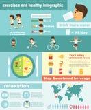 Forma fisica di esercizi e stile di vita sano infographic Fotografia Stock Libera da Diritti