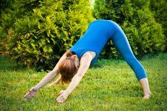 Forma fisica di pratica o yoga della bella donna Immagini Stock Libere da Diritti
