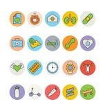 Forma fisica ed icone 6 di vettore colorate salute Fotografie Stock Libere da Diritti